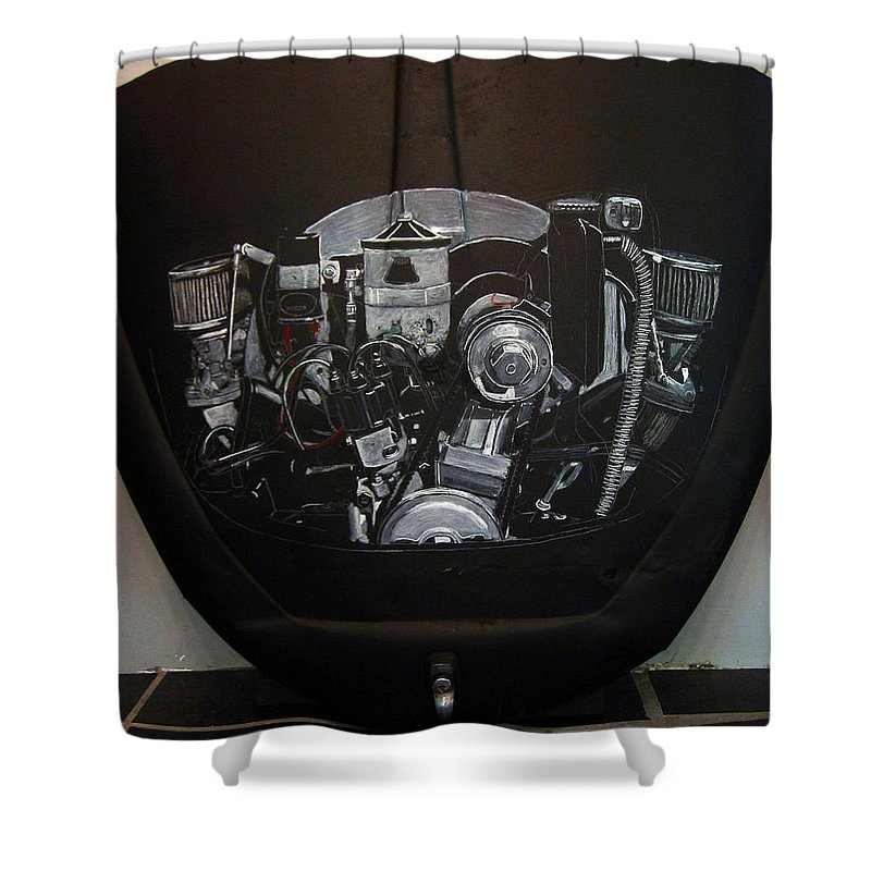 Vw Shower Curtain featuring the painting 356 Porsche Engine On A Vw Cover by Richard Le Page