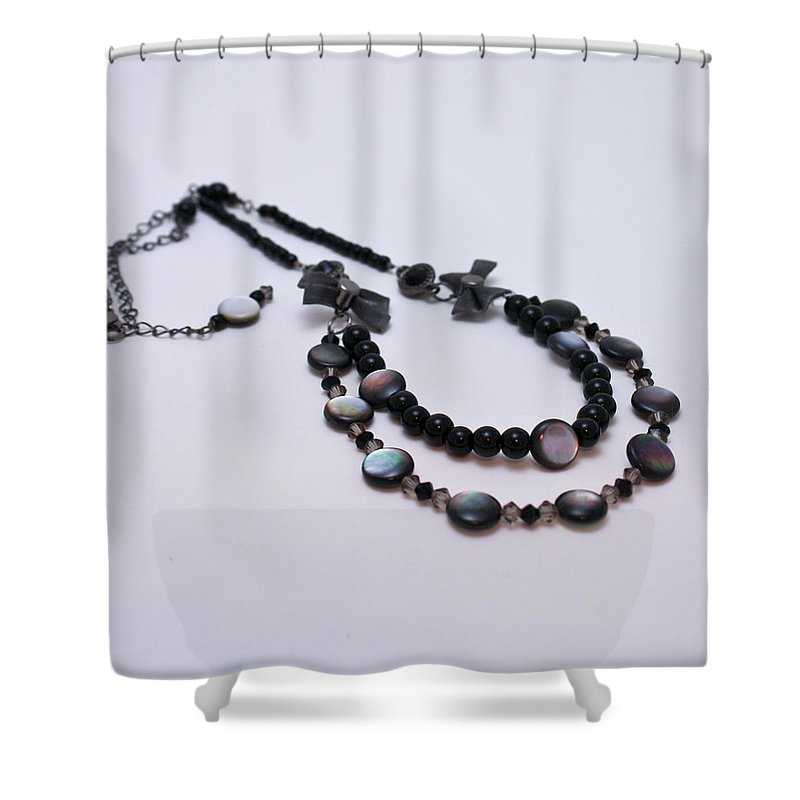 Necklace Shower Curtain featuring the jewelry 3587 Fun Gunmetal Necklace by Teresa Mucha