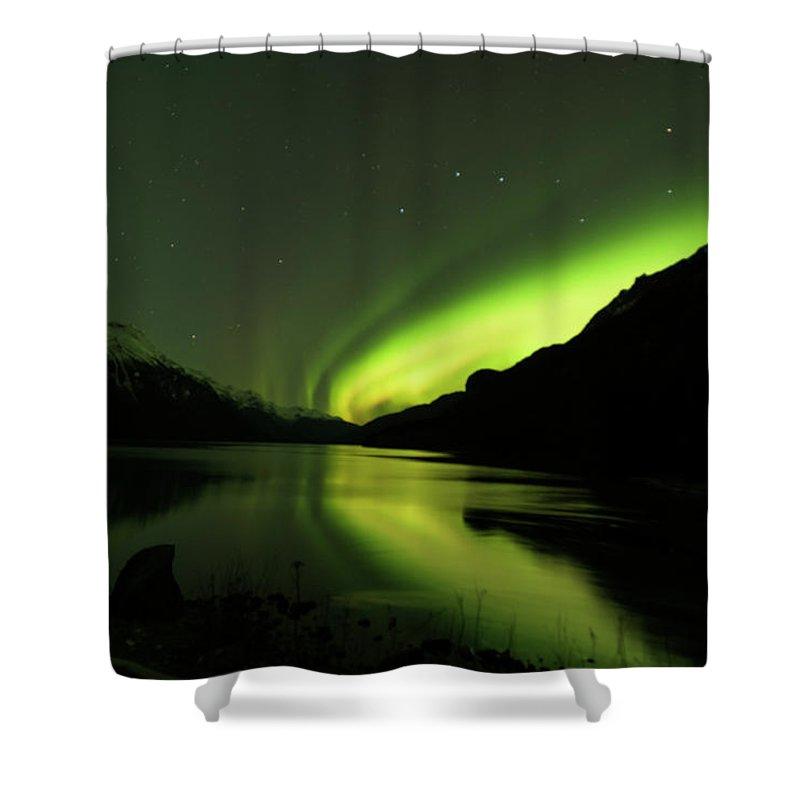 Alaska 2015 Shower Curtain featuring the photograph Aurora Borealis by Donald Trimble
