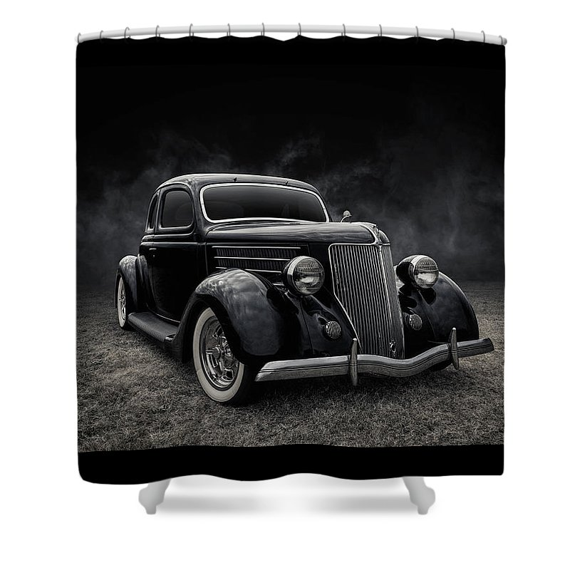 Vintage Shower Curtain featuring the digital art 36 Ford Five Window by Douglas Pittman