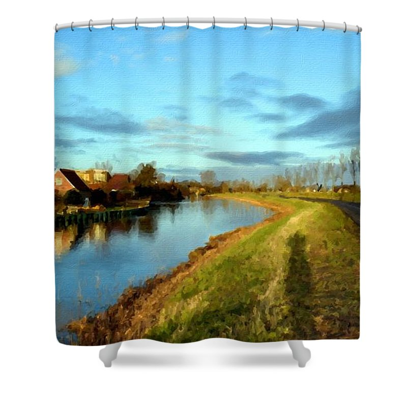 Landscape Shower Curtain featuring the digital art Landscape Pictures by Usa Map