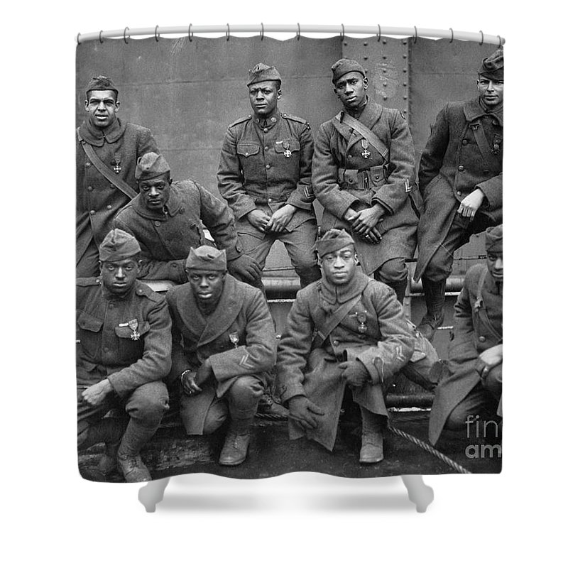 1919 Shower Curtain featuring the photograph 369th Infantry Regiment by Granger