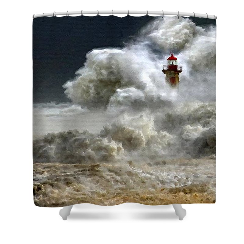 Landscape Shower Curtain featuring the digital art Oil Painting Landscape Pictures by Usa Map