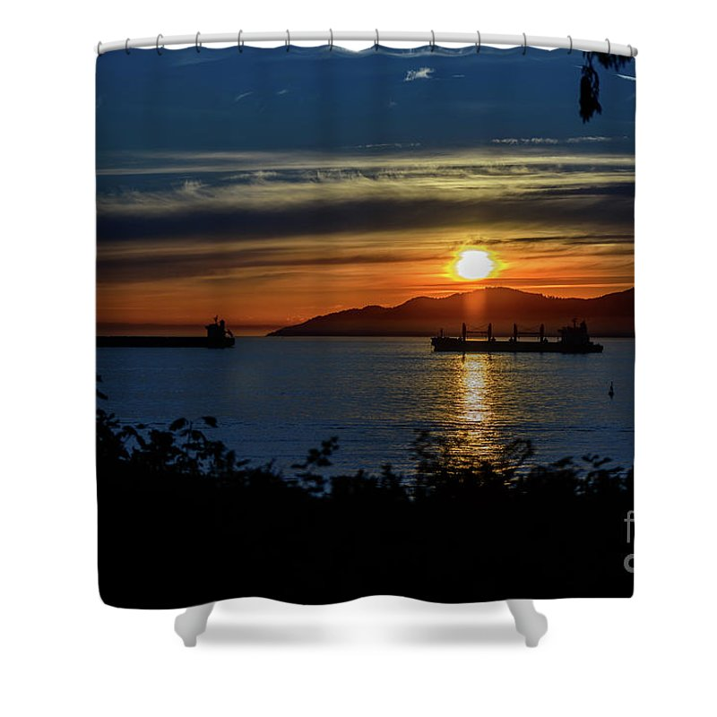 Vancouver Landscape Shower Curtain featuring the photograph Sunset Over The Mountains 3 by Viktor Birkus