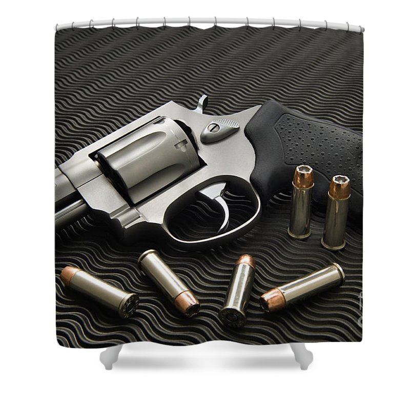 Gun Shower Curtain featuring the photograph .38 Special - D008149 by Daniel Dempster