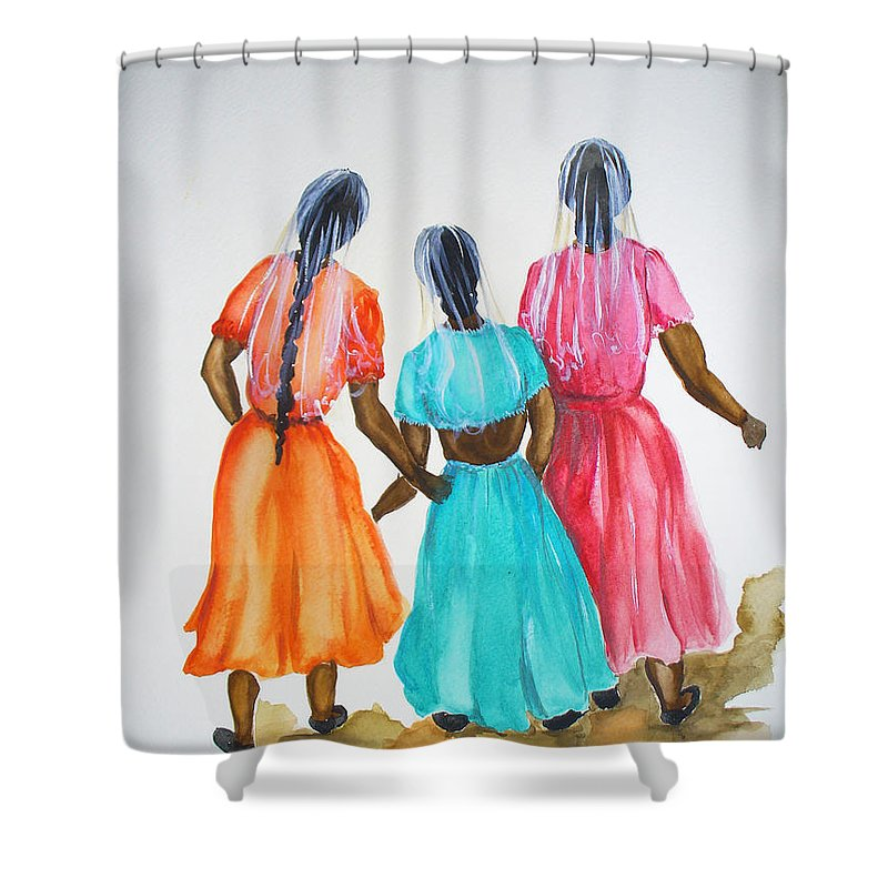 Three Ladies East Indian Shower Curtain featuring the painting 3bff by Karin Dawn Kelshall- Best