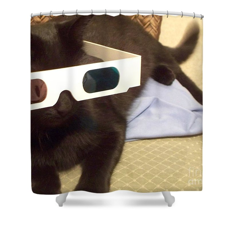 3d Shower Curtain featuring the photograph 3d Cat by Eric Schiabor