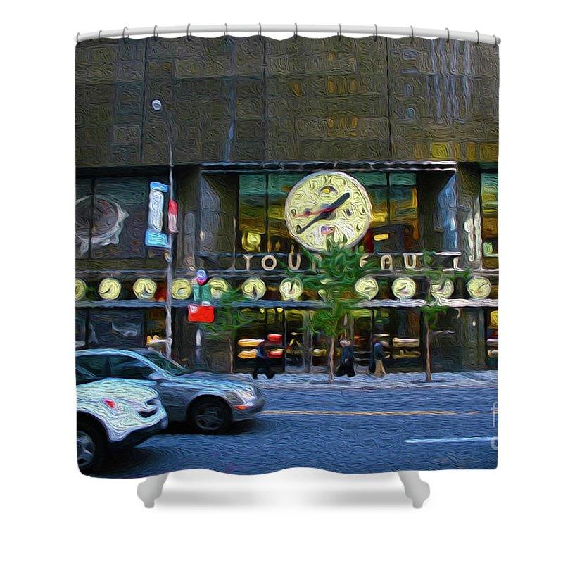 Walter Paul Bebirian Shower Curtain featuring the digital art 4-23-2017b by Walter Paul Bebirian