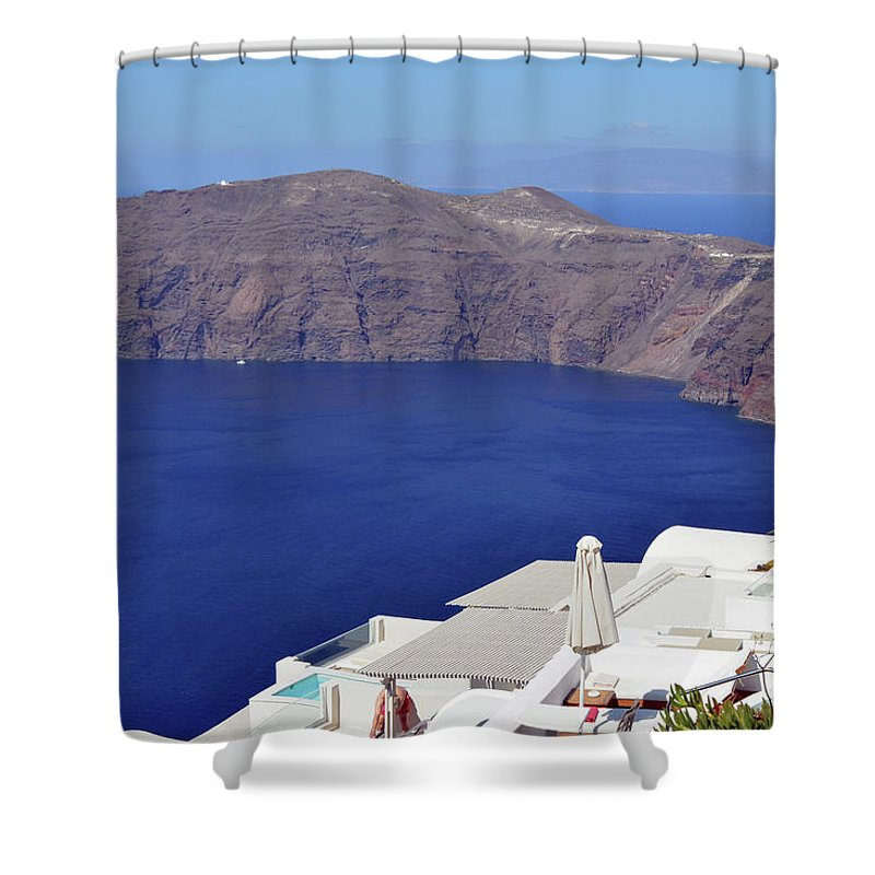 Santorini Shower Curtain featuring the photograph 28.09.2016 Photography Of Traditional And Famous Houses And Churches With Blue Domes Over The Calder by Oana Unciuleanu