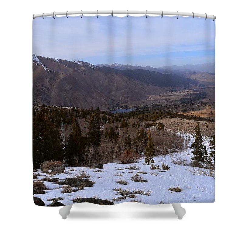 Alpine Shower Curtain featuring the photograph A Snowy Desert Mountain Scene Above Twin Lakes Along The Trail To Monument Ridge In The Eastern Sier by Will Sylwester
