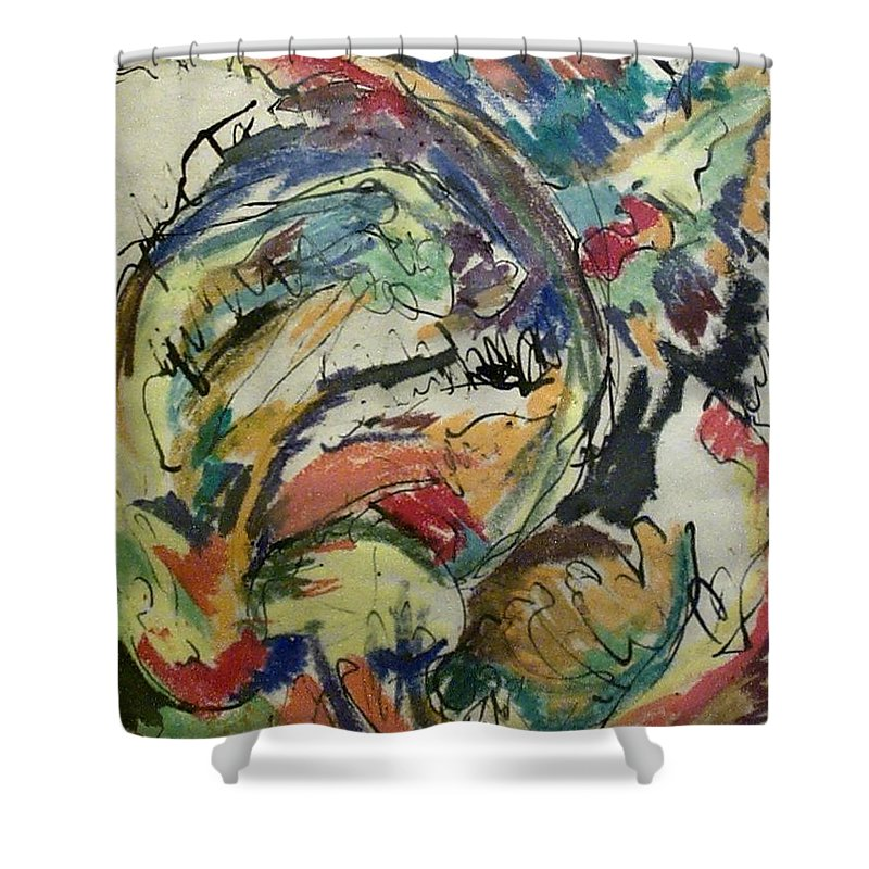 Watercolors Shower Curtain featuring the painting Abstract by Evelyn Bell Vodicka