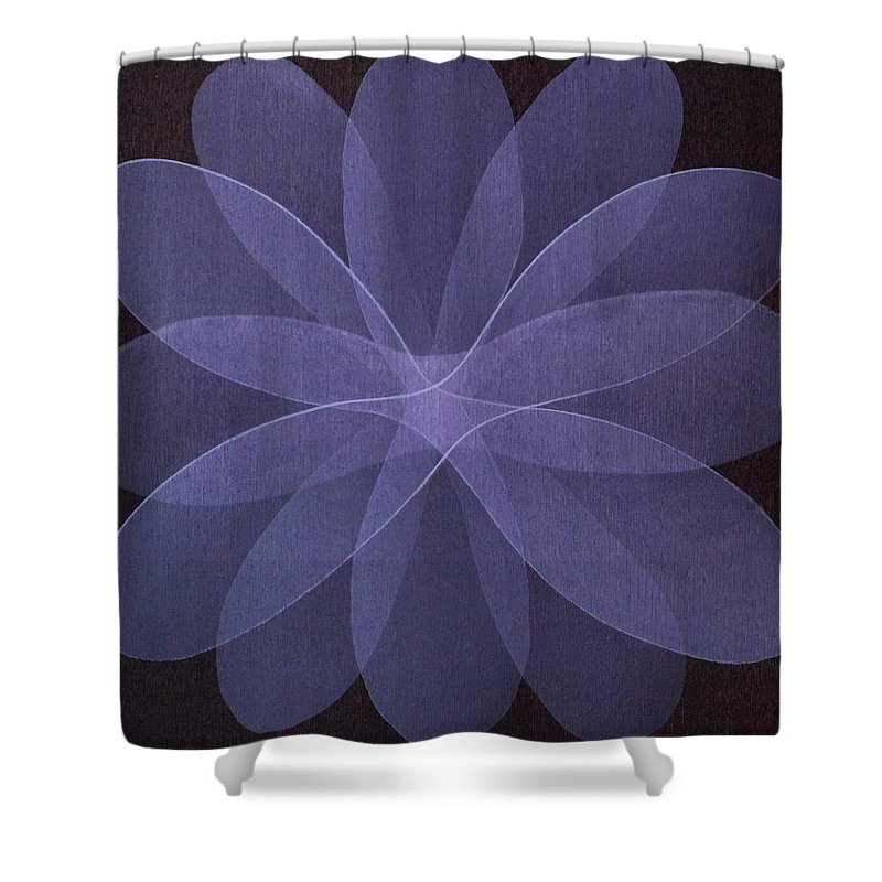 Abstract Shower Curtain featuring the painting Abstract flower by Jitka Anlaufova