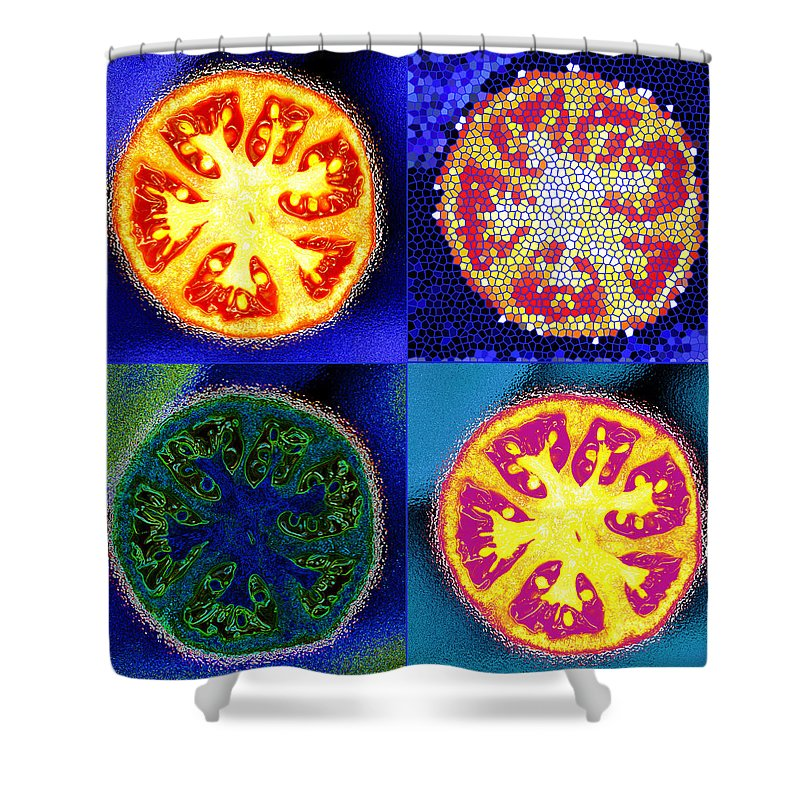 Tomatoes Shower Curtain featuring the photograph 4 Abstract Tomatoes by Nancy Mueller