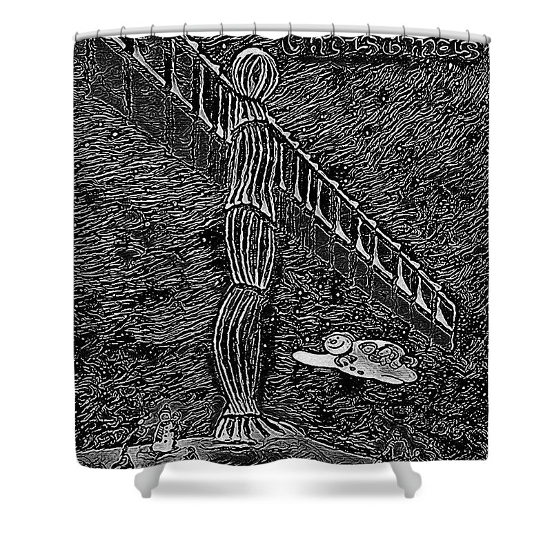Angel Christmas Shower Curtain featuring the painting Angel Of The North by Neal Crossan