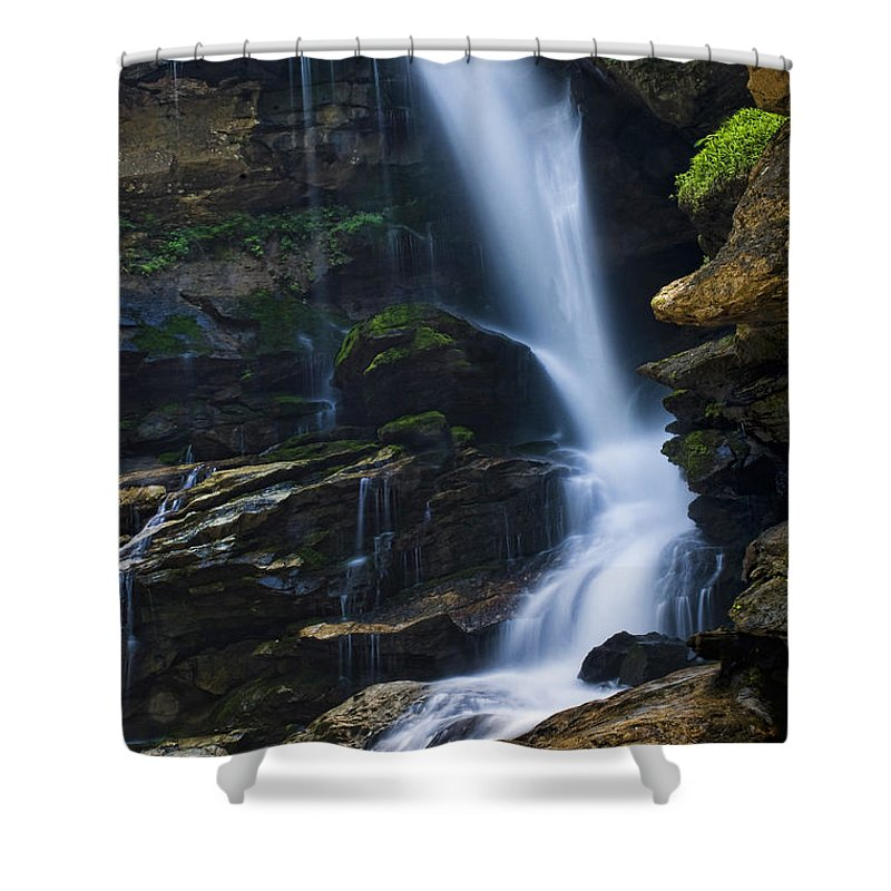 Big Shower Curtain featuring the photograph Big Bradley Falls North Carolina by Chip Laughton