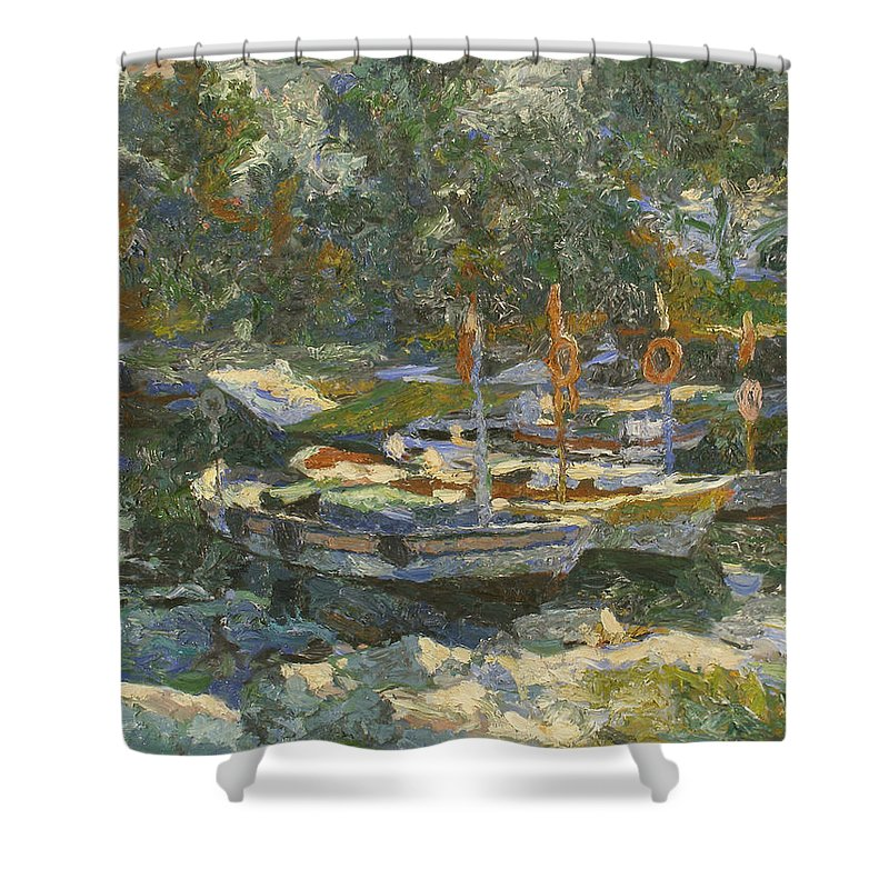 Regatta Shower Curtain featuring the painting Boats by Robert Nizamov