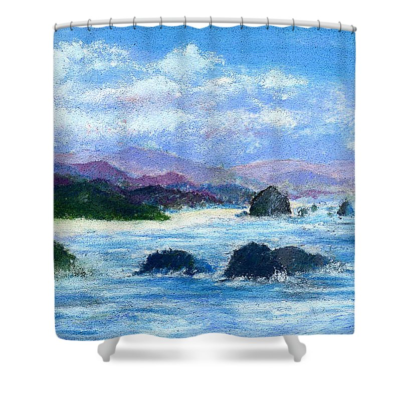 Miniature Shower Curtain featuring the painting Cannon Beach by David Patterson