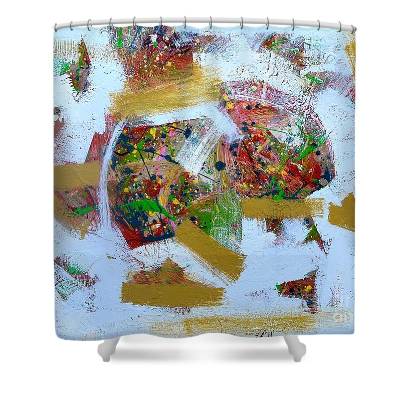 Abstract Shower Curtain featuring the painting Challenge 2017 Save Europe Www.gracedivine.com by Grace Divine
