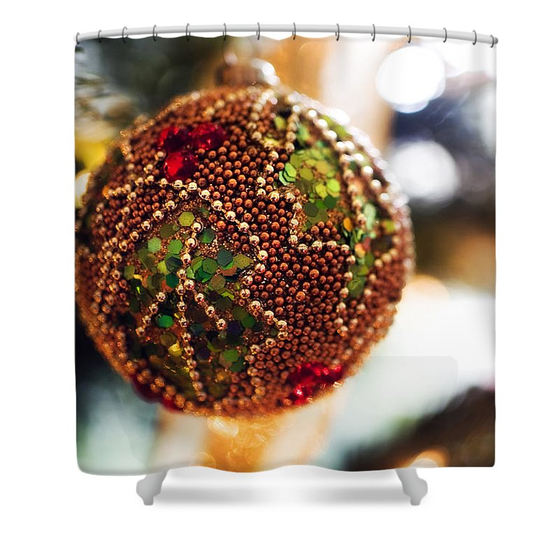 Christmas Card Xmas Tree Pine Spruce Decorations Ribbon Baubles Fairy Lights Needles Victorian Shower Curtain featuring the photograph Christmas Tree Decorations by Mal Bray