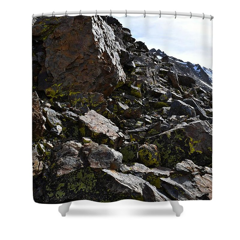 Alpine Shower Curtain featuring the photograph Colorful Lichens Growing On Rocks Along Monument Ridge, In The Eastern Sierra Nevadas by Will Sylwester