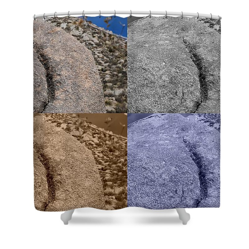 Sepia Shower Curtain featuring the photograph 4 Crack Rocks New Mexico by Rob Hans