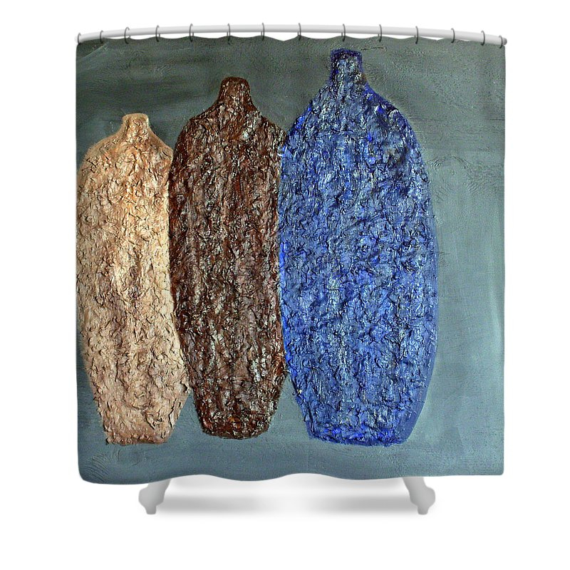Still Life Paintings Shower Curtain featuring the painting Decor Vases by Leslye Miller