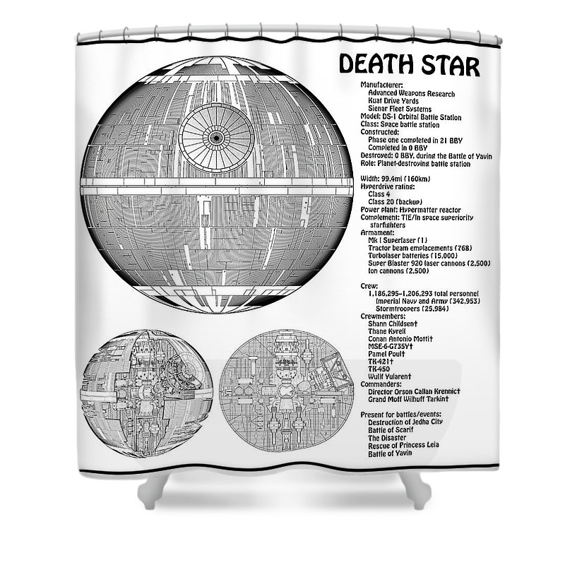 Star Wars Shower Curtain Featuring The Drawing Diagram Illustration For Death Ds