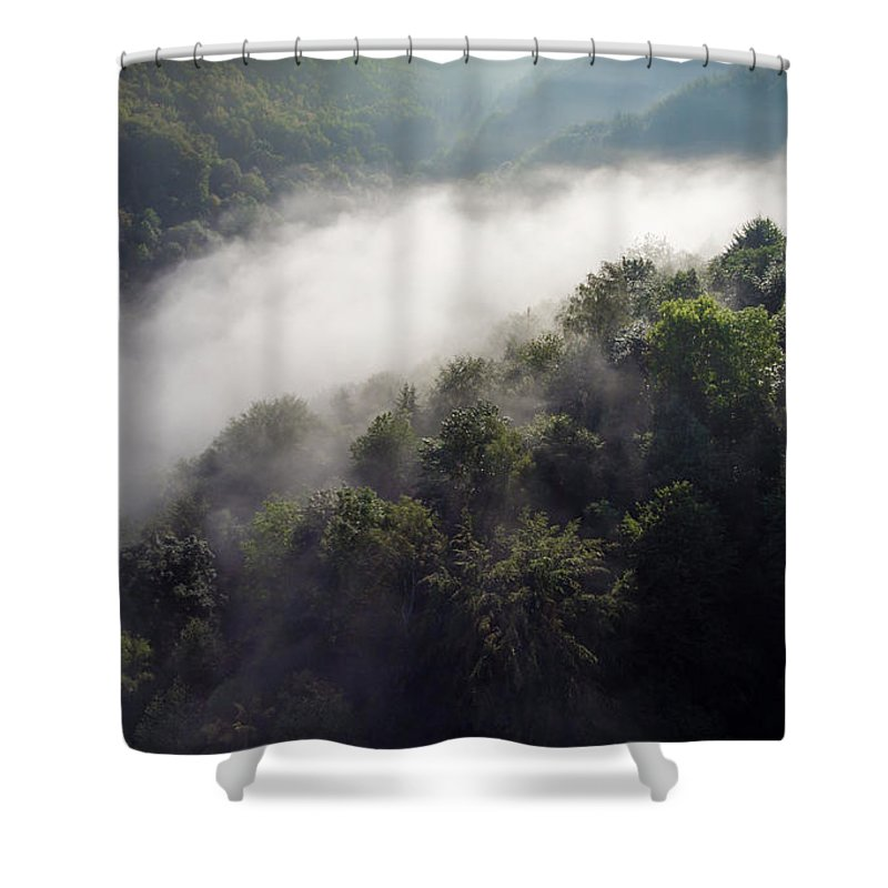 Above Shower Curtain featuring the photograph Fantastic Dreamy Sunrise On Foggy Mountains by Mariusz Prusaczyk