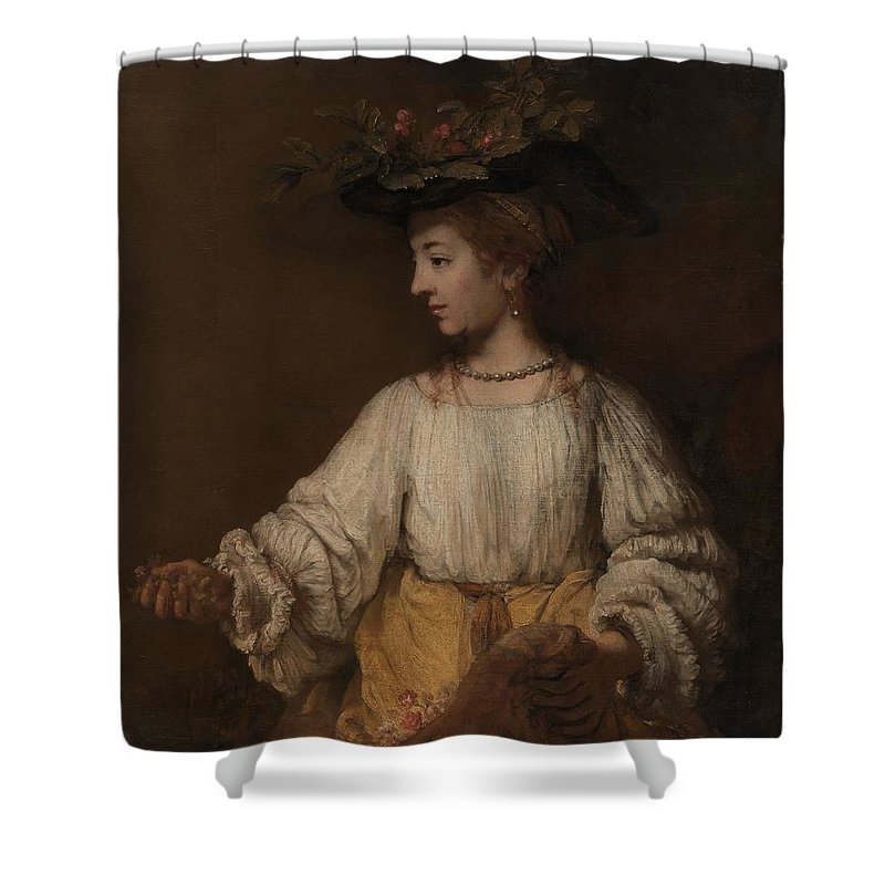 Flora Shower Curtain featuring the painting Flora by Rembrandt