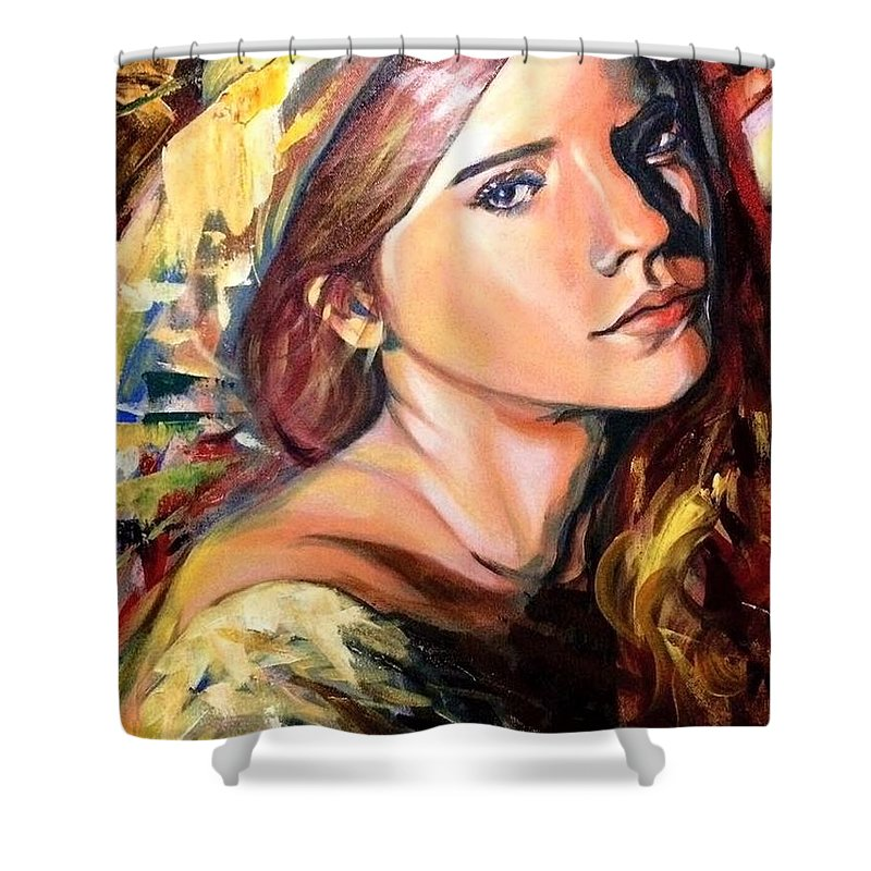 Shower Curtain featuring the painting Girl by Niti Is a painter