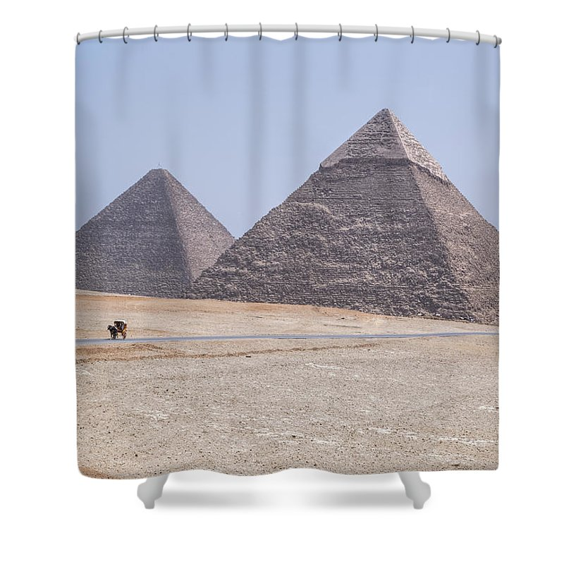 Great Pyramids Of Giza Shower Curtain featuring the photograph Great Pyramids Of Giza - Egypt by Joana Kruse