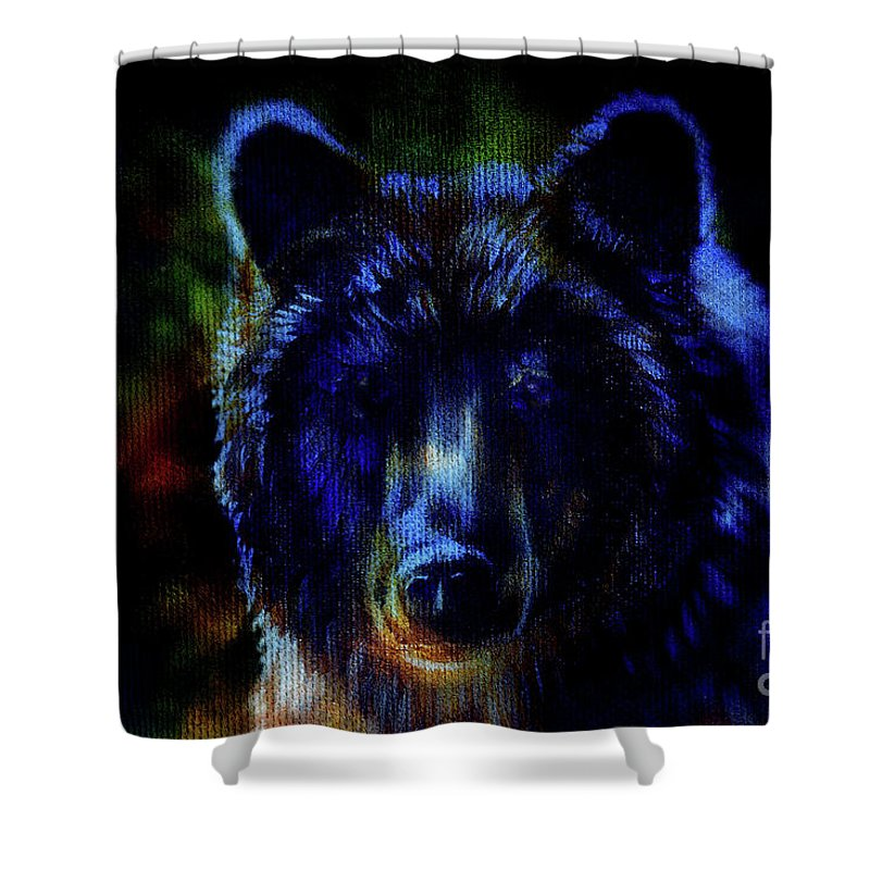 Bear Shower Curtain featuring the painting head of mighty brown bear, oil painting on canvas and graphic collage. Eye contact. by Jozef Klopacka