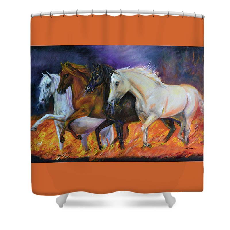 Horse Shower Curtain featuring the painting 4 Horses Of The Apocalypse by Olga Kaczmar