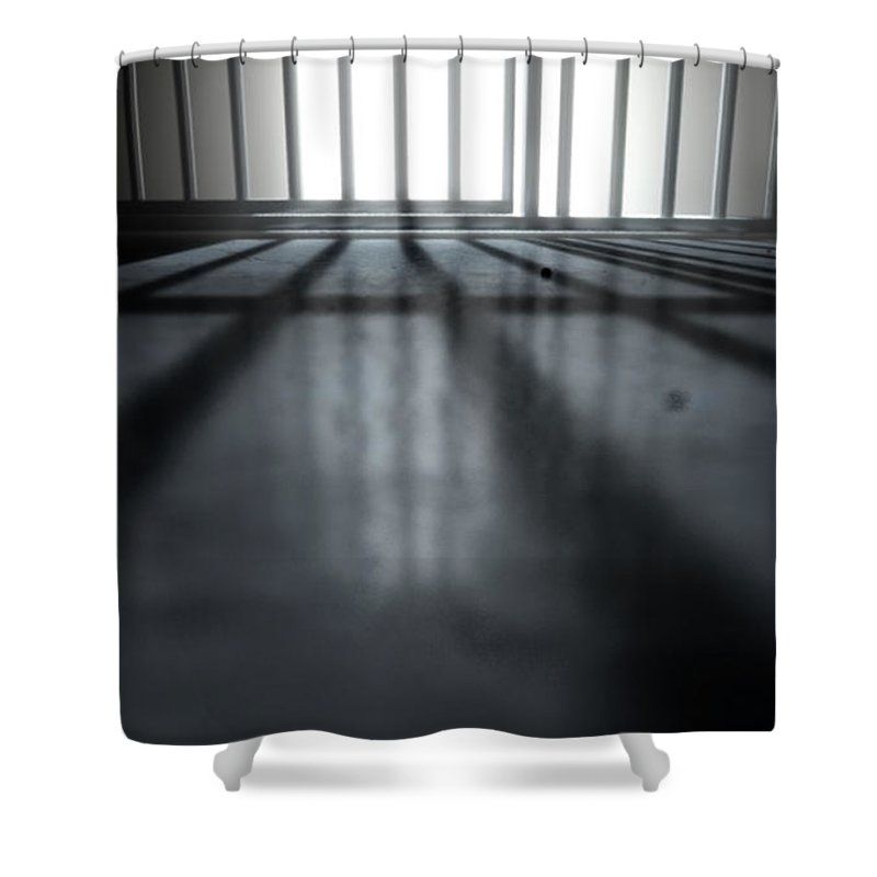 Prison Shower Curtain featuring the digital art Jail Cell Shadows by Allan Swart