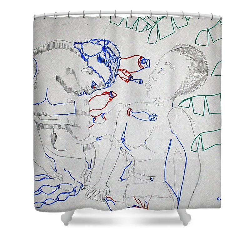 Jesus Shower Curtain featuring the painting Kintu And Nambi Loves Puzzle by Gloria Ssali