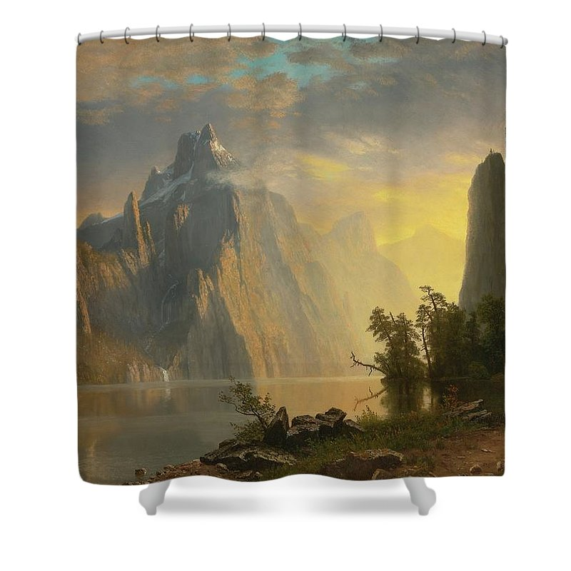 Landscape By Albert Bierstadt Shower Curtain featuring the painting Landscape  by Albert Bierstadt