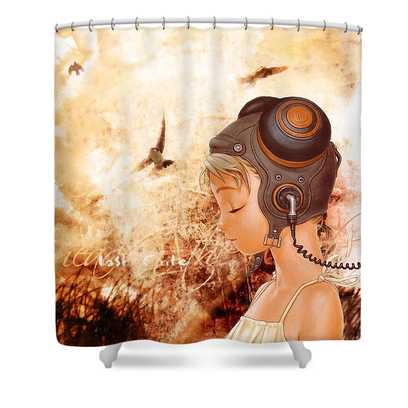 Last Exile Shower Curtain featuring the digital art Last Exile by Mery Moon