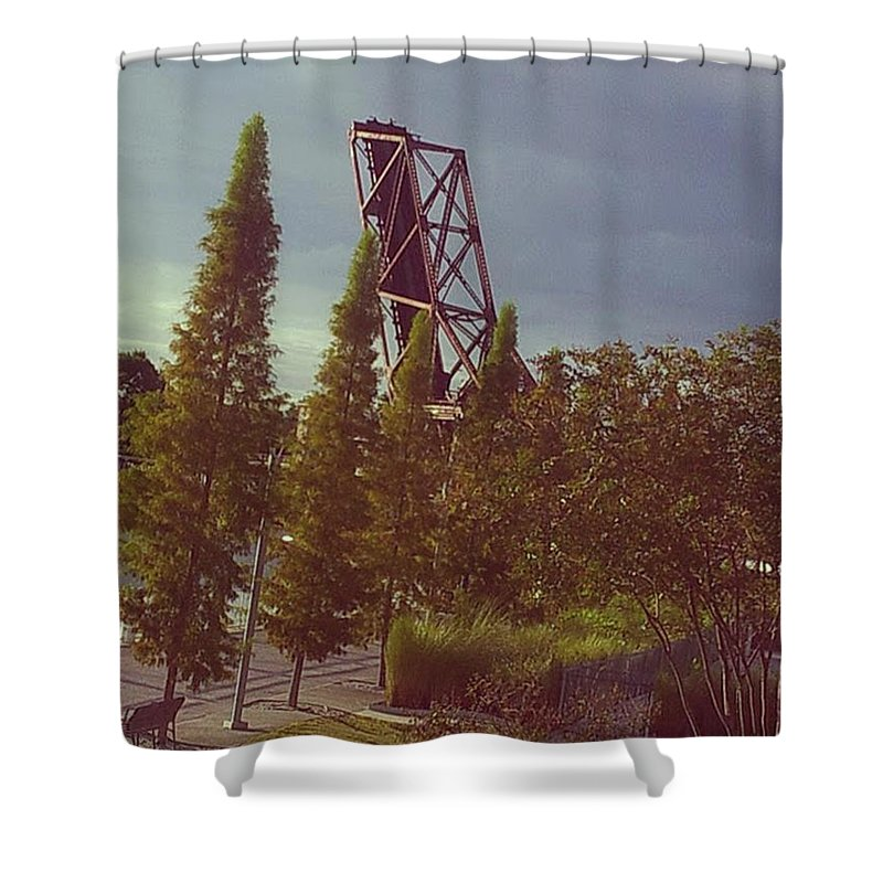 Riverwalk Shower Curtain featuring the photograph 4 Liner by Rene GrayMitchell