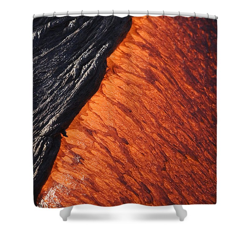 Active Shower Curtain featuring the photograph Molten Pahoehoe Lava by Ron Dahlquist - Printscapes