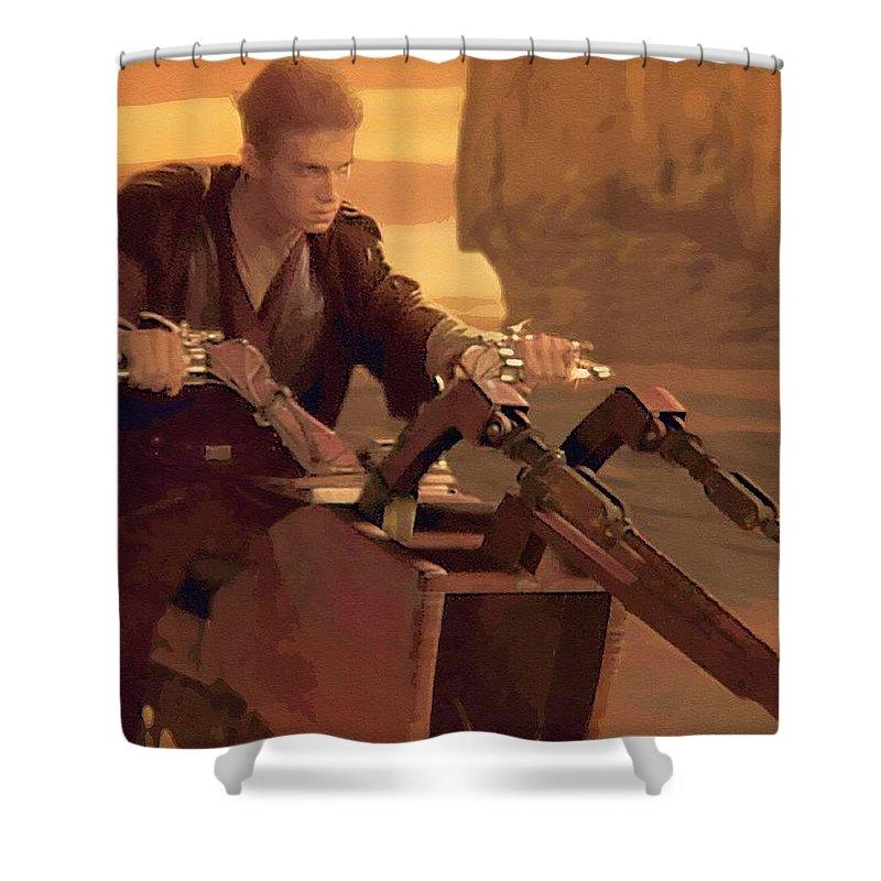 Kids Star Wars Shower Curtain featuring the digital art Original Star Wars Art by Larry Jones