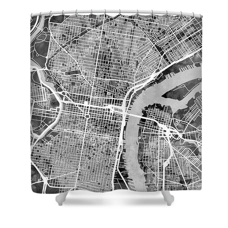 Street Map Shower Curtain featuring the digital art Philadelphia Pennsylvania Street Map 4 by Michael Tompsett