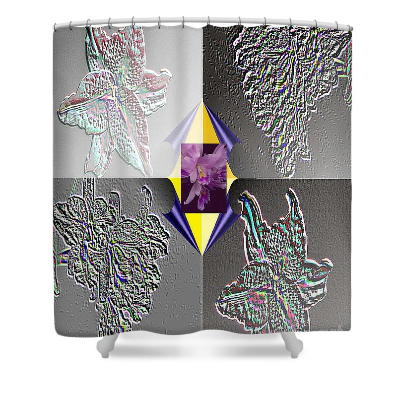Florals Shower Curtain featuring the digital art 4 Points Of Interest by Brenda L Spencer