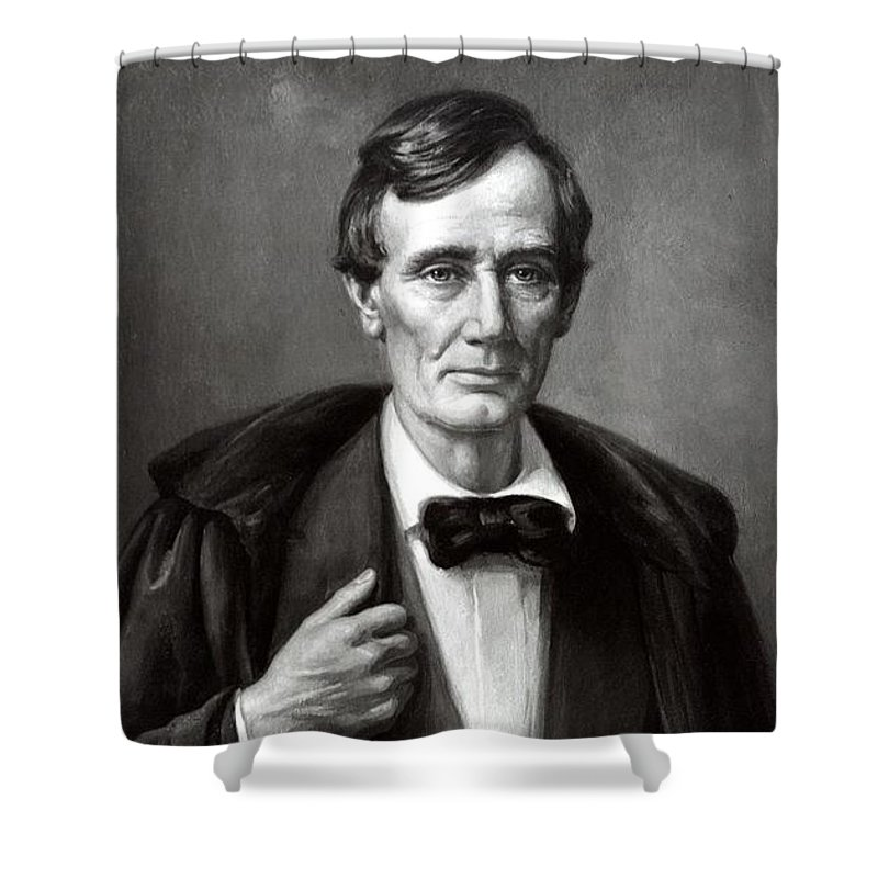 American History Shower Curtain featuring the mixed media President Lincoln by War Is Hell Store