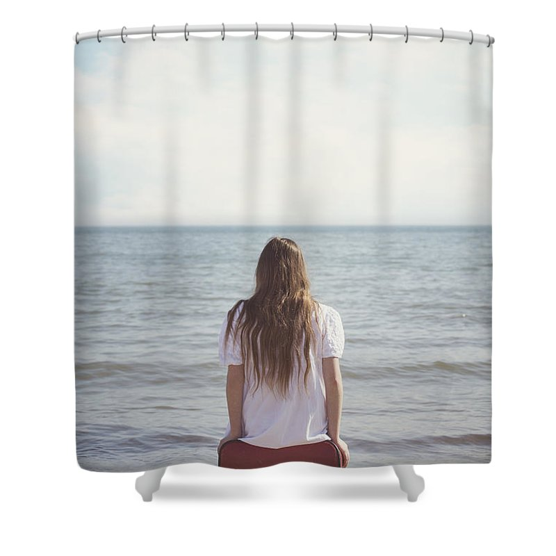 Girl Shower Curtain featuring the photograph Red Suitcase by Joana Kruse