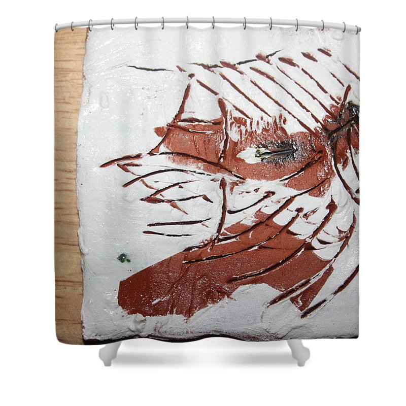 Jesus Shower Curtain featuring the ceramic art Rest - Tile by Gloria Ssali