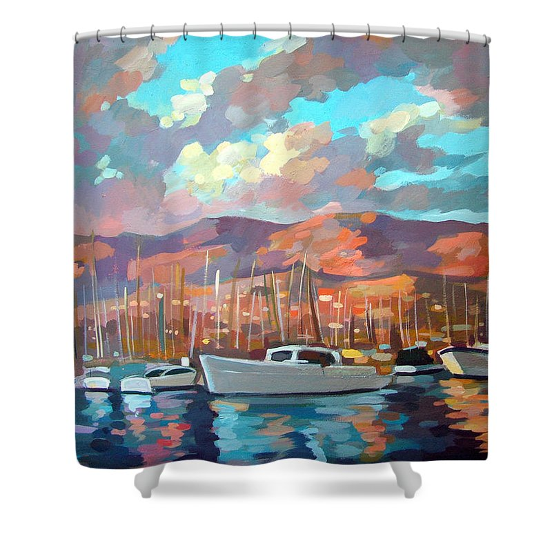 Boats Shower Curtain featuring the painting Santa Barbara by Filip Mihail
