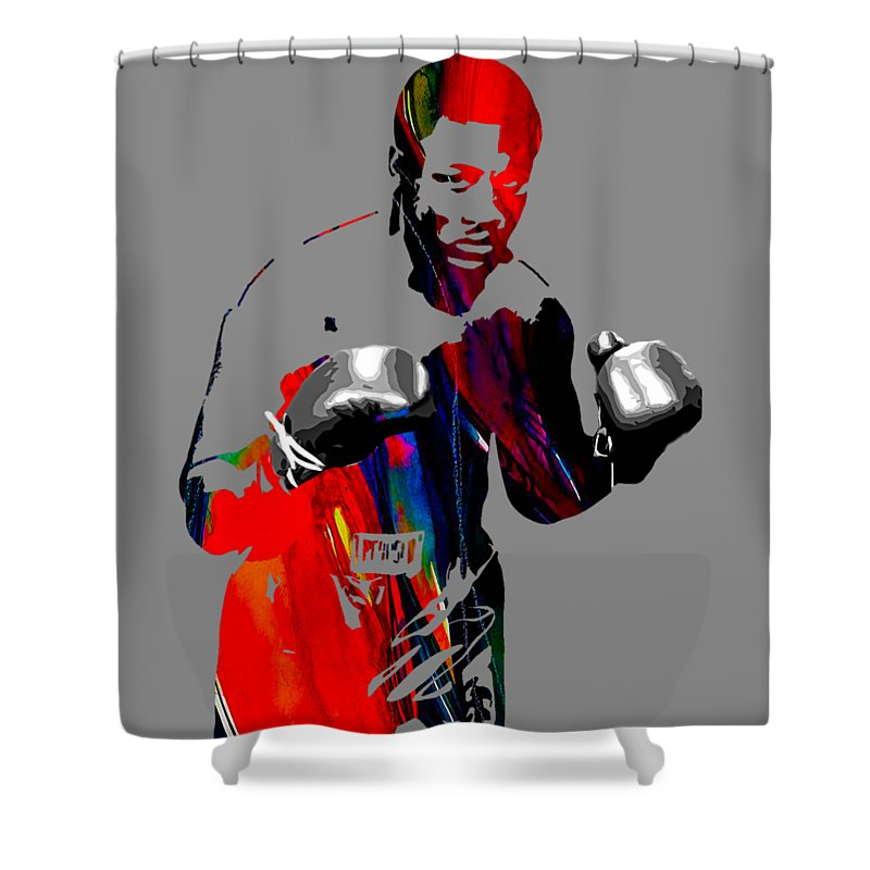 Joe Frazier Shower Curtain featuring the mixed media Smokin Joe Frazier Collection by Marvin Blaine