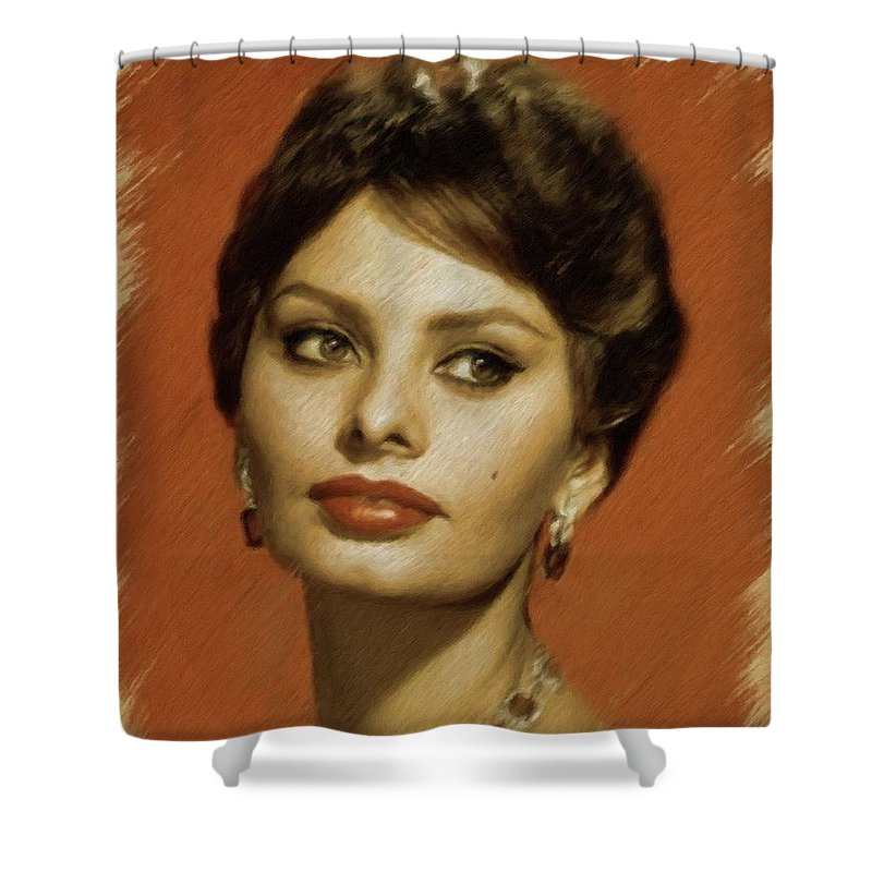 Sophia Shower Curtain featuring the painting Sophia Loren, Vintage Actress by Mary Bassett