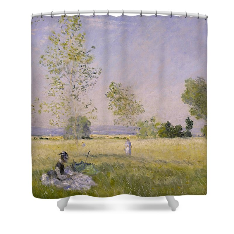 Claude Monet Shower Curtain featuring the painting Summer by Claude Monet