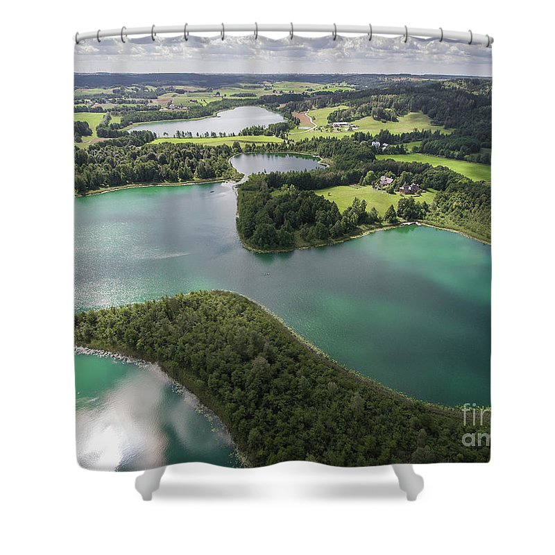 Hiking Shower Curtain featuring the photograph Suwalki Landscape Park, Poland. Summer Time. View From Above. by Mariusz Prusaczyk
